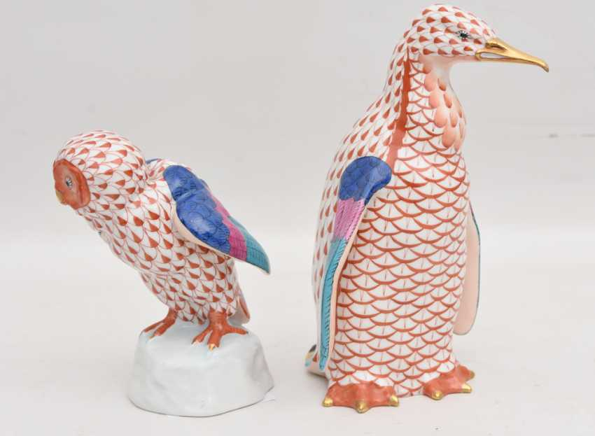 HEREND PORCELAIN : TWO animal figures, painted/glazed equipped/gold, Hungary at the end of 20. Century - photo 2