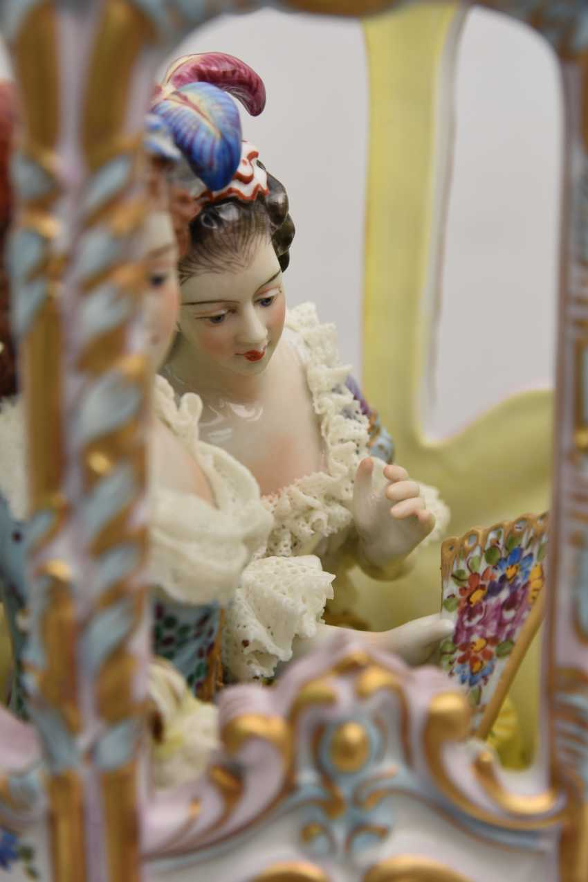 VOLKSTEDT porcelain manufactory: magnificent coach, painted glazed gold staffiertes porcelain, 2. Half of the 20. Century - photo 10