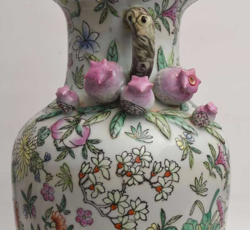 "VASE ""pomegranate blossom"",painted porcelain, marked, China 1. Half of the 20. Century - photo 5"