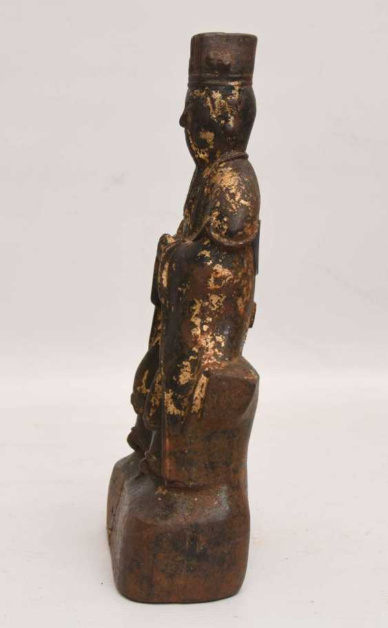 """Dominion image"", and a cast iron Statue with gold leaf, China, late Ming dynasty - photo 6"