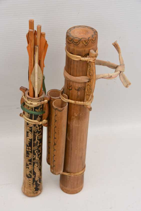 CROSSBOW AND BOW, beschhnitztes wood hand-painted, early 20. Century - photo 2