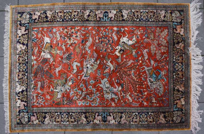 Hunting carpet KUN, silk on silk Orient 20. Century - photo 3