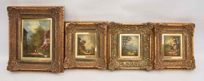 "GROUP of ""4 the Alpine village of VIEWS"", Oil on canvas/wood, framed - photo 1"