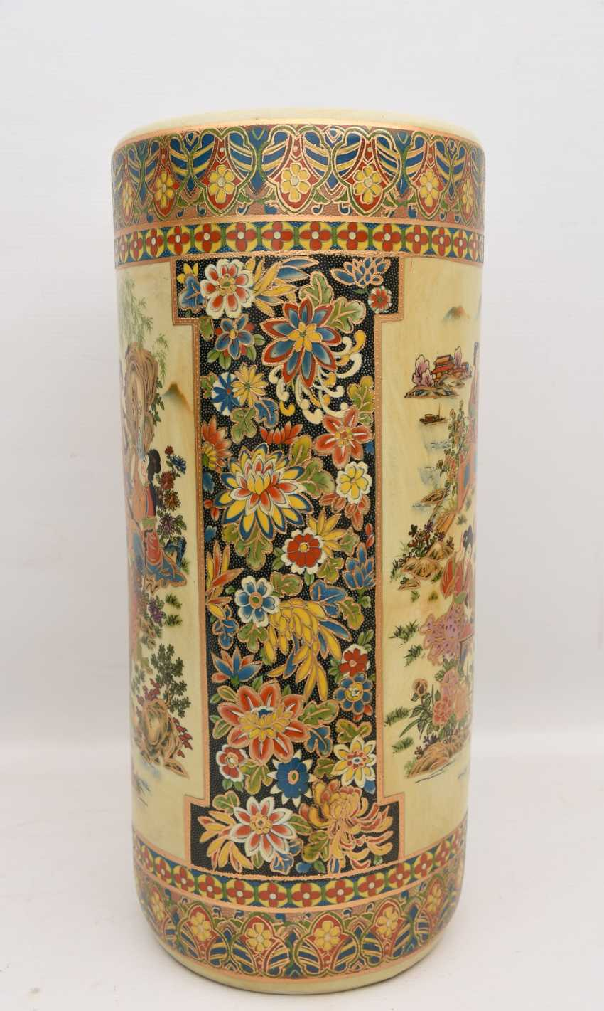 "Umbrella stand ""GEISHA"", printed porcelain gold equipped, Japan 20. Century - photo 3"
