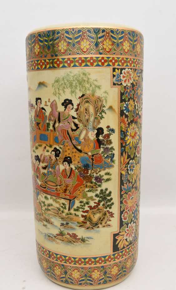"Umbrella stand ""GEISHA"", printed porcelain gold equipped, Japan 20. Century - photo 4"