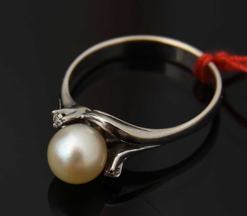 Ladies ring 2, 750 WG with solitaire pearl, 20. Century - photo 1