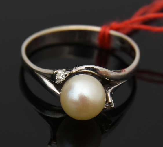 Ladies ring 2, 750 WG with solitaire pearl, 20. Century - photo 2
