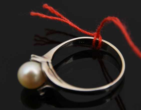 Ladies ring 2, 750 WG with solitaire pearl, 20. Century - photo 4