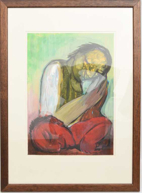 """FRIEDEMANN VON STOCKHAUSEN:""""TWO FIGURES"""", mixed technique on paper, behind glass framed, signed and dated - photo 1"""