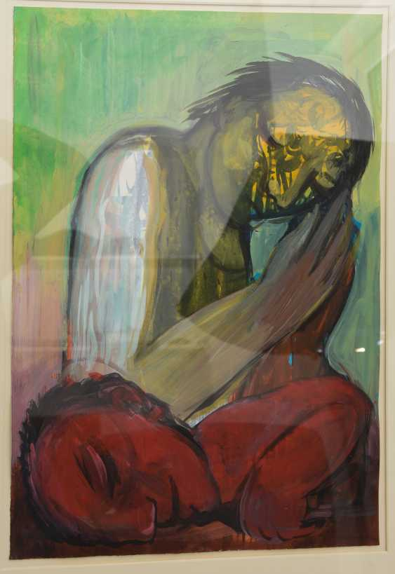 """FRIEDEMANN VON STOCKHAUSEN:""""TWO FIGURES"""", mixed technique on paper, behind glass framed, signed and dated - photo 2"""