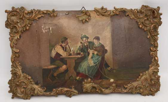 """UNKNOWN ARTIST:""""get-TOGETHER"""",with Oil-painted and stuckierter cardboard, around 1900 - photo 1"""