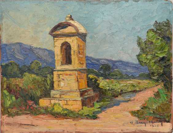 """UNKNOWN ARTIST: """"pilgrimage Shrine ON the ROADSIDE"""", Oil on wood panel, signed and dated - photo 1"""