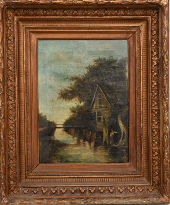 """UNKNOWN ARTIST:"""" ON the BACH"""", Oil on canvas, framed - photo 1"""