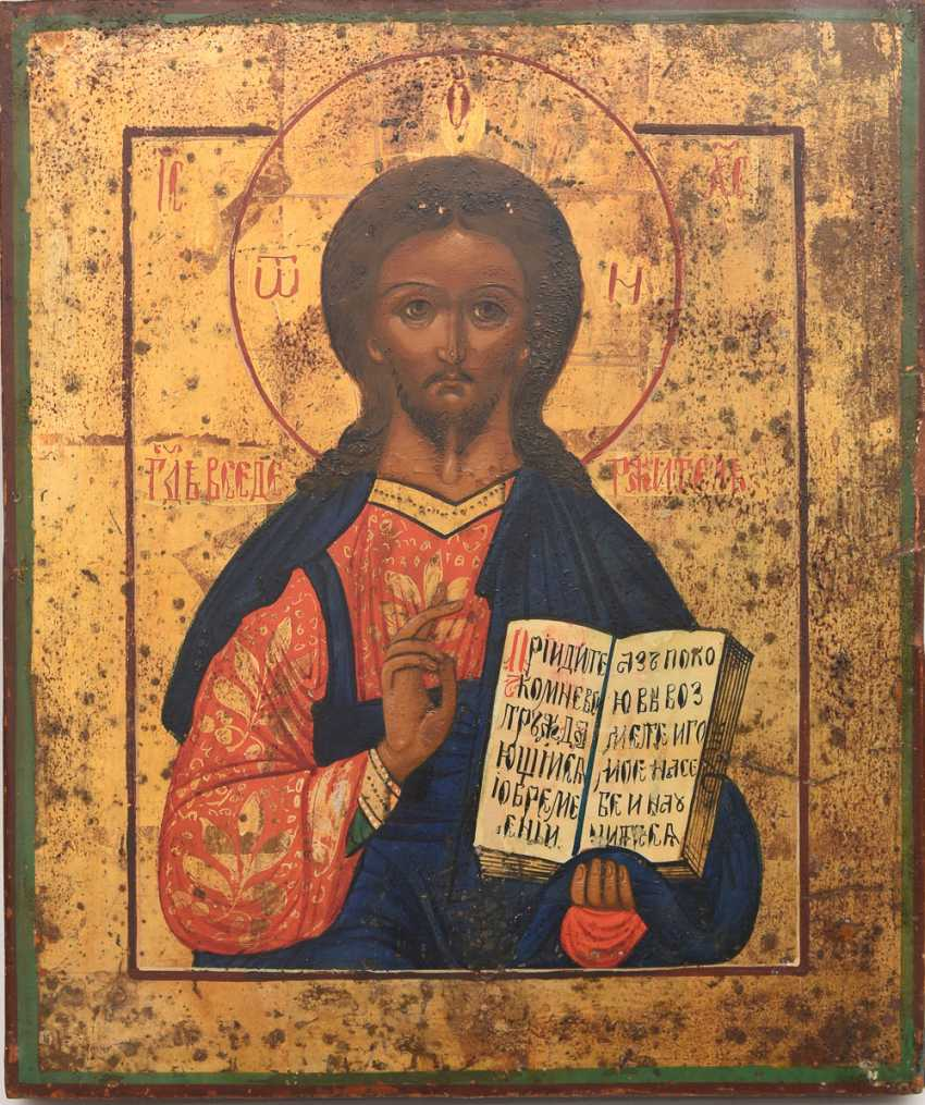 Christ icon 2; egg tempera on wood, Russia, 19./20. Century - photo 1