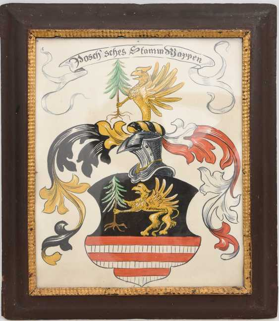 POSCHER family coat of arms, Oil on panel, behind glass framed, around 1900 - photo 1