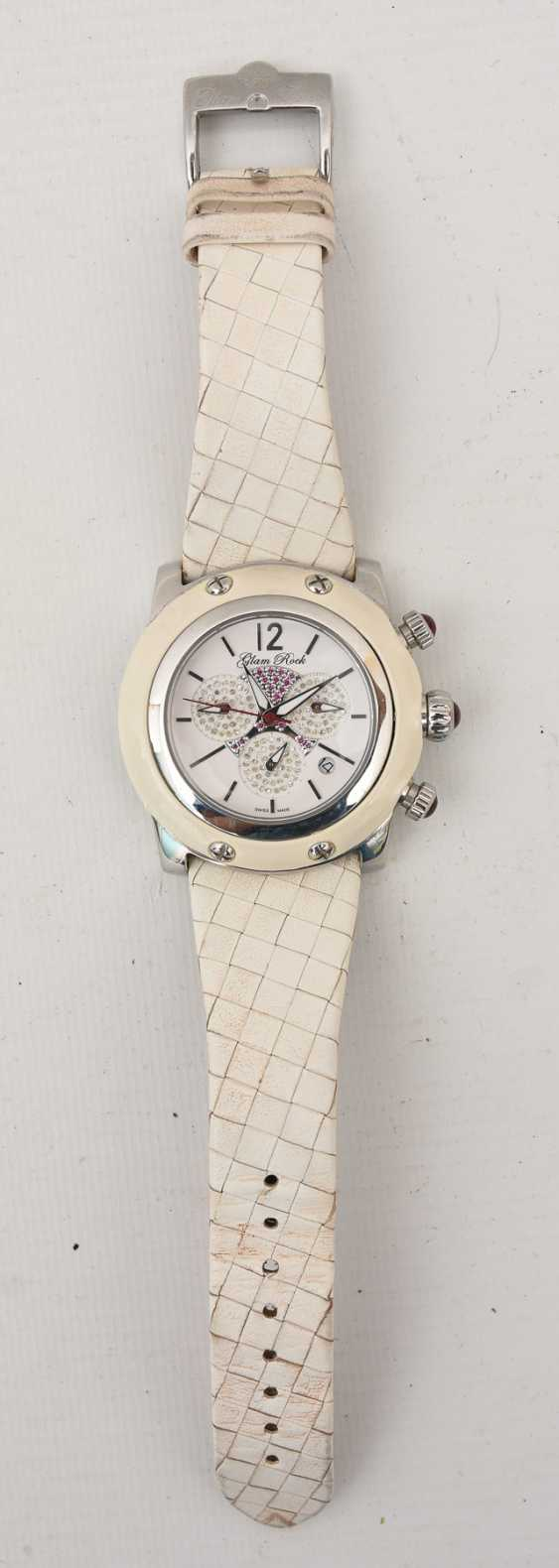 GLAM ROCK women's WATCH WHITE stainless steel/leather, 2000 - photo 1