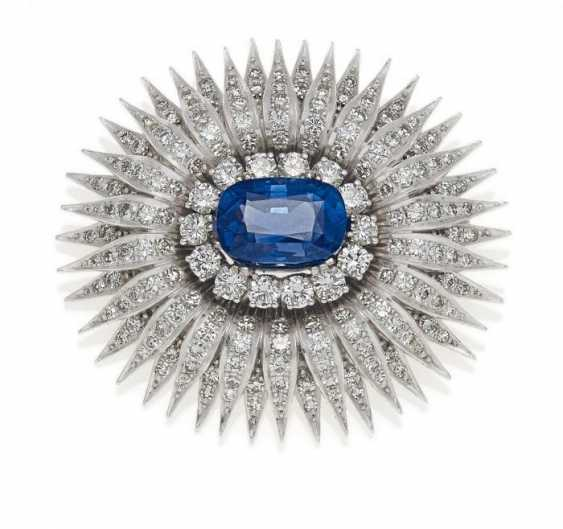 VITZTHUM sapphire and diamond brooch. München, 1960 - photo 1