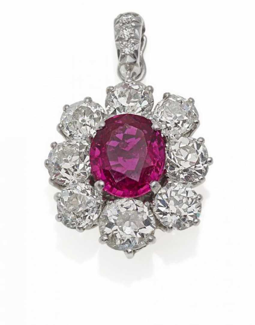 RUBY-DIAMOND PENDANT. Germany, around 1960 - photo 1