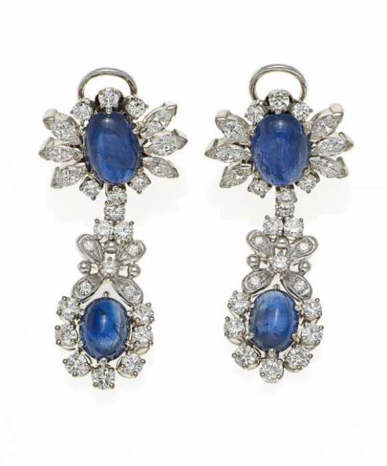 SAPPHIRE AND DIAMOND DROP EARRINGS. Germany, around 1960.