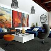 The unique interior design with paintings by artists