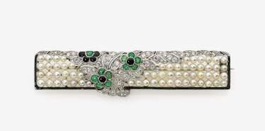 Brooch with diamonds, river pearls, emeralds, Onyx, and enamel