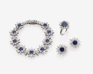 Parure, bracelet, a Pair of earrings and Ring with diamonds and sapphires. Düsseldorf, 1986, WEYERSBERG
