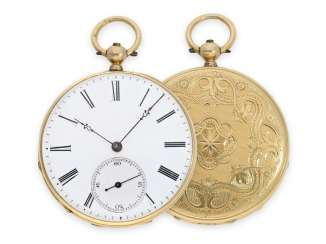 Pocket watch: a magnificent guilloché Lepine in 18K Gold, CA. 1860