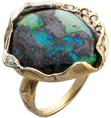 Gold ring with black opal and diamonds