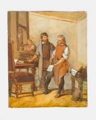 Artist 19.century, the printing house, oil on canvas, framed