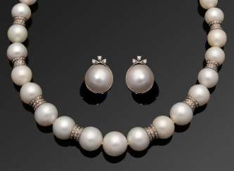 Elegant South Sea pearl necklace with Mabé pearl ear clips