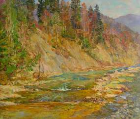 Mountain river Painting by Aleksandr Dubrovskyy