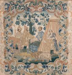 Baroque embroidery with a biblical scene
