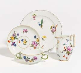 Double handle bowl with saucer, plate, jug