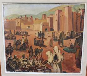 Orientalist early 20. century, village with people, oil canvas, signed