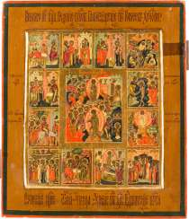 A SMALL ICON OF THE DESCENT INTO HELL AND RESURRECTION OF CHRIST WITH THE TWELVE GREAT FEASTS OF THE ORTHODOX CHURCH YEAR