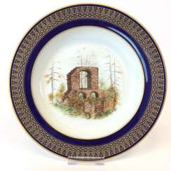 Special views of plate: Meissen porcelain, gold rim, Form T-smooth,