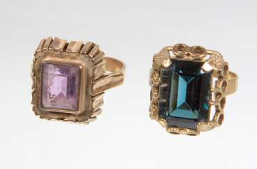 2 ladies rings with trim - yellow gold 333