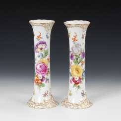 Pair of vases with flower painting.