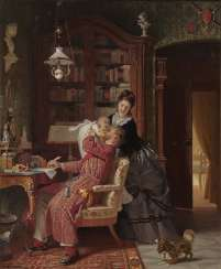 Max Kaltenmoser, Family Idyll Young mother and child visit the father who is busy with paperwork in the library.