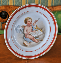 Plate with the image of an angel made of porcelain