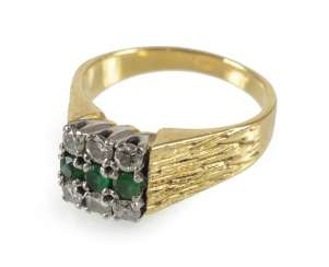 Emerald And Diamond Ring, 750 Gg/