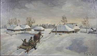 Ukrainian winter landscape with two soldiers on a horse-drawn sleigh,1942