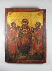 Enthroned mother of God with two angels