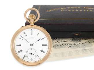 Pocket watch: A. Lange & Söhne men's watch in rose-gold, No. 65204, completely original condition with the original box and original papers, CA. 1910