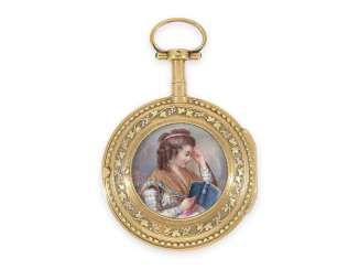 Pocket watch: Gold/enamel Spindeluhr with the finest magnifying glass painting, excellent quality, Vaucher Paris No. 14066, CA. 1780