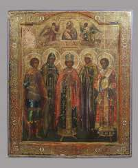 Patronal icon with the five selected, and the mother of God of Vladimir