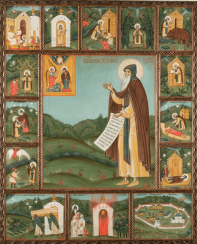 SV. PRP. Nikandr, with scenes from his life