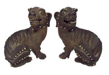 Pair of Fo lions from Zisha-Ware with enamel decoration