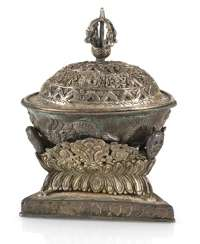 Silver-plated Kapala with Stand and lid