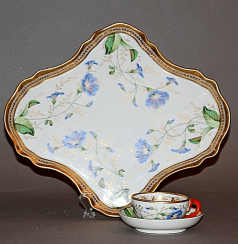 Tray and Cup made of porcelain.the factory of the Kornilov brothers
